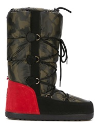 Moncler Grenoble Camouflage Print Snow Boots Green