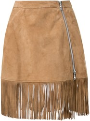 Guild Prime Fringed Mini Skirt Brown