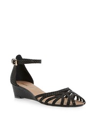 Dune Knightly Leather Low Wedge Sandals Black