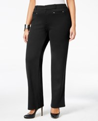 Jm Collection Plus Size Straight Leg Ponte Trousers Only At Macy's Deep Black
