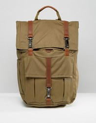Timberland Rolltop 24L Backpack With Leather Trim Khaki Green