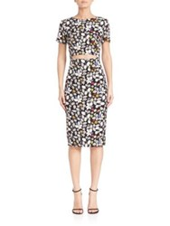 Suno Silk Cutout Body Con Dress Multicolor Floral