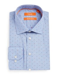 Tallia Orange Patterned Cotton Dress Shirt Blue