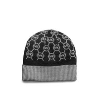 Michael Kors Jet Set Logo Metallic Knitted Hat Black Grey