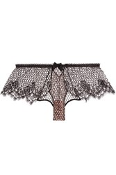 Fleur Du Mal Fishnet And Lace Thong Black