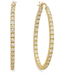 B. Brilliant 18K Gold Over Sterling Silver Cubic Zirconia In And Out Hoop Earrings 1 1 4 Ct. T.W.