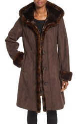 Gallery Women's Hooded Faux Shearling Long A Line Coat