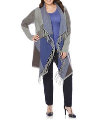Rafaella Plus Open Front Intarsia Fringed Cardigan Grey