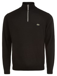 Lacoste Marl Knit Sweater With Zip Collar Black Multi