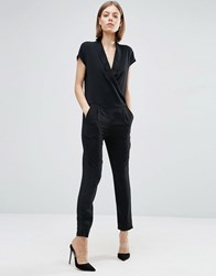 See U Soon Tailored Jumpsuit With Tux Front Black