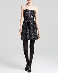 Aqua Dress Baby Sequin Strapless Black Silver