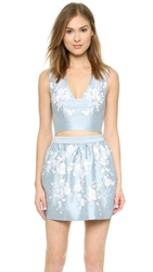 Cynthia Rowley Embroidered Crop Top Light Blue