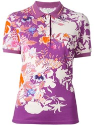 Etro Floral Print Polo Shirt Pink And Purple