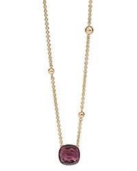 Michael Aram 18K Yellow Gold Beaded Chain Necklace With Amethyst Cushion Pendant 16