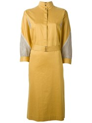 Louis Feraud Vintage Mesh Panel Shirt Dress Yellow And Orange