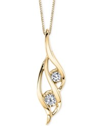 Sirena Two Stone Diamond Pendant Necklace 1 3 Ct. T.W. In 14K Gold Or White Gold Yellow Gold