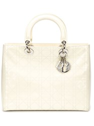 Christian Dior Vintage 'Lady Dior' Tote White