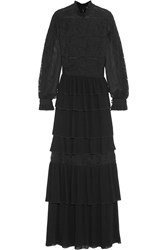 Vilshenko Camilla Pleated Chiffon And Lace Gown Black