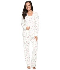 Carole Hochman Three Piece Pajama Set Holiday Bouquet Twin Women's Pajama Sets White