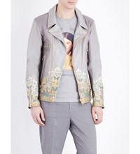 Undercover Baroque Print Leather Jacket Gray Beige