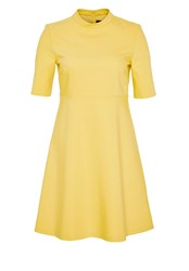 Hallhuber Stand Collar Dress With Midi Sleeves Yellow