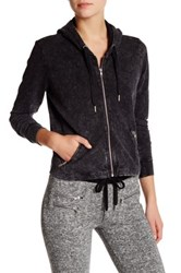 The Kooples French Terry Crop Hoodie Gray
