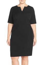 Plus Size Women's Mynt 1792 Seam Detail Stretch Crepe Sheath Dress Black