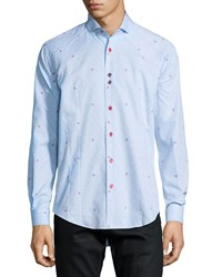 Bogosse Flower Print Long Sleeve Sport Shirt Light Blue Men's