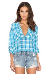 Candc California Two Pocket Plaid Top Blue