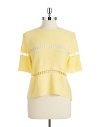 J.O.A. Laser Cut Accented Crop Top Soft Yellow