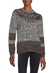 Yigal Azrouel Embroidered Merino Wool Sweater Heather Grey