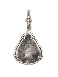 Loree Rodkin Small Tear Drop Sliced Diamond Pendant Necklace Metallic