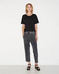 Raquel Allegra Cropped Sweatpant Black Acid Wash