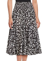 Context Floral Peasant Skirt Black True White