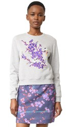 Carven Embroidered Sweatshirt Gris Chine