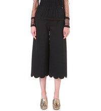 Red Valentino Scalloped Wide High Rise Stretch Crepe Trousers Nero