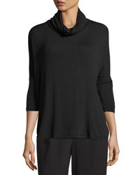 Bobeau Cowl Neck Knit Split Back Top Black