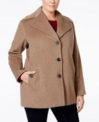 Calvin Klein Plus Size Wool Cashmere Single Breasted Peacoat Oatmeal