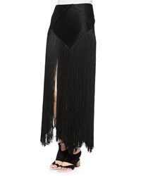 Proenza Schouler Woven Long Fringe Skirt Black