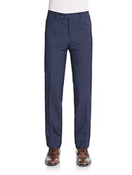 Saks Fifth Avenue Modern Fit Mini Check Wool Pants Blue