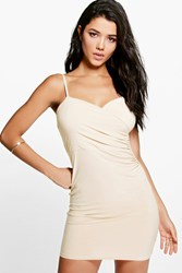 Boohoo Wrap Front Ruched Skirt Mini Dress Sand