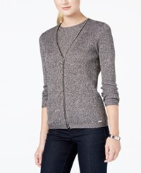 Calvin Klein Zippered V Neck Cardigan Sweater Black White Multi