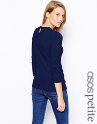 Asos Petite Jumper With Keyhole Back Navy