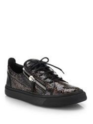 Giuseppe Zanotti Snakeskin Embossed Leather Lace Up Sneakers Black