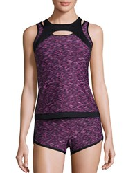 Calvin Klein Colorblocked Tankini Top Mulberry