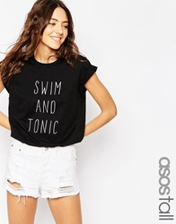 Asos Tall Swim And Tonic T Shirt Black