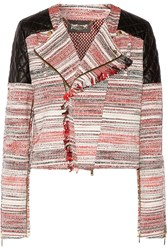 Just Cavalli Leather Paneled Cotton Blend Basketweave Jacket Red