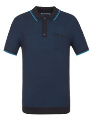 Ben Sherman Jacquard Knitted Polo Canal