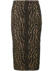 Rochas Metallic Animal Pattern Skirt Black