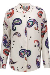 Msgm Printed Silk Shirt Off White